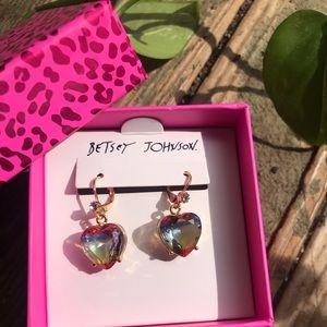 Betsey Johnson Multi-Color Heart Gem Earrings